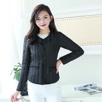 棉衣女短款冬季修身圆领外套新款保暖内胆韩版学生轻薄小棉袄 M 80至95斤