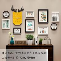 照片墙相框墙简约现代装饰客厅创意个性实木悬挂墙组合北欧免打孔情人节礼物 9393黑白两色【华沙画心】