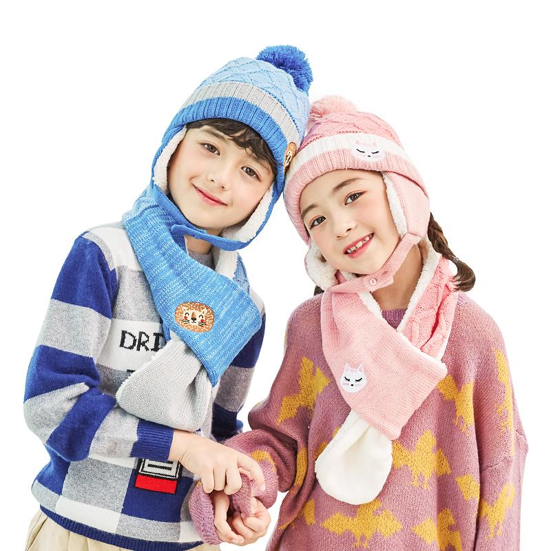 KK树儿童帽子男秋冬季护耳针织毛线帽潮男童女童宝宝帽子 贴心护耳设计 时尚保暖三件套