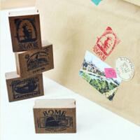 UMI韩国款创意文具复古旅行世界日记贴纸邮票邮戳铁盒印章送贴纸