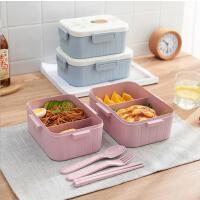 便携可爱小麦纤维饭盒办公室学生可微波加热密封保鲜饭盒快餐盒