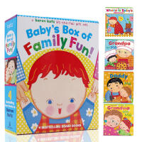 Baby's Box of Family Fun!《妈妈在哪儿》、《爸爸在哪儿》《奶奶在哪儿》《爷爷在哪儿》 含Karen Katz四本卡板书礼品装 幼儿启蒙认知 英文原版童书