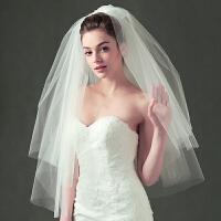 简约森系旅拍超仙短款头纱自拍新款新娘婚纱头饰网红写真拍照道具 短款 80cm-100cm