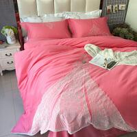 长绒棉四件套全棉韩版简约纯棉公主风床品套件床单被套双人1.8m床x定制