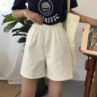 三木子快时尚女装~百搭松紧腰短裤高腰牛仔短裤