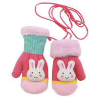 儿童手套冬宝宝加绒加厚保暖女童可爱男孩挂脖针织中大童小孩包指