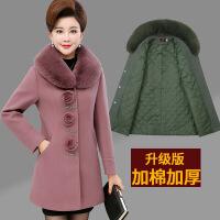 中老年女装毛呢外套大码妈妈装秋冬装加棉加厚呢大衣中长款40-50