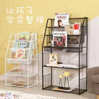 儿童幼儿绘本铁艺杂志收纳书架简易宝宝书报置物架家用报刊落地