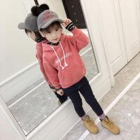 2019新款韩版儿童洋气中长款加绒加厚连帽上衣女童秋冬装卫衣