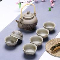 【新品】粗陶陶瓷干泡茶盘套装仿古老岩泥紫砂整套功夫茶具套装 7件
