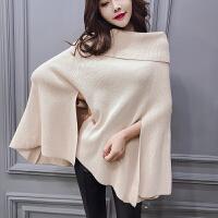 毛衣外套女秋装2018新款韩版气质一字露肩针织衫长袖宽松斗篷上衣 均码