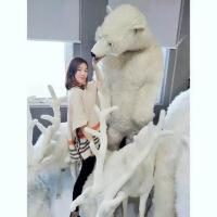六一儿童节520hansa 1.9米高站姿北极熊进口手工仿真大型毛绒玩具家居摆件520礼物母亲节 4014北极熊