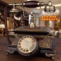 【品牌热卖】GDIDS仿古电话机欧式复古实木旋转老式客厅家用无线插卡电话座机