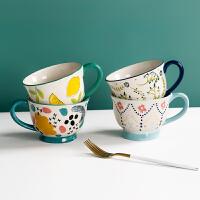 陶瓷牛奶燕��片早餐杯家用咖啡杯日系彩�L可�凵倥��R克杯喝水杯子