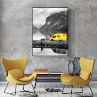 北欧沙发背景墙装饰画客厅画简约现代三联画风景挂画 100*150 铝合金框-黑色 黑白风景(梦幻旅