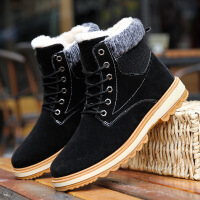 冬季马丁靴男休闲工装靴男鞋加绒保暖棉靴东北雪地靴男士高帮棉鞋