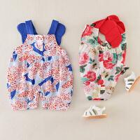 宝宝夏装外出服公主哈衣婴幼儿夏季0- 3月婴儿衣服棉连体衣