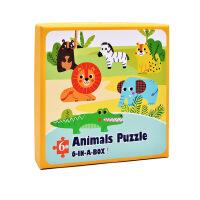 益智玩具 智力开发 朵莱 儿童大块六合一拼图森林海洋动物交通工具 3-6岁益智拼板森林动物