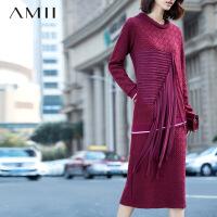 【AMII 超级品牌日】AMII[极简主义]冬新女大码街头风雪纺流苏开叉连衣裙11581869