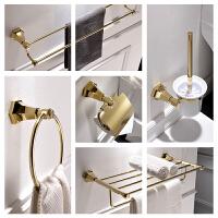 卫生间全铜欧式浴室洗手间五金卫浴金色置物毛巾架浴巾架挂件套装