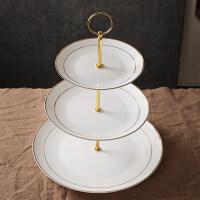 【优选】欧式点心盘三层创意骨瓷点心架下午茶具水果干果盘子陶瓷蛋糕盘子