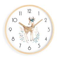 北欧家用挂钟客厅个性创意实木时钟静音卧室太阳牌机芯钟表 12英寸