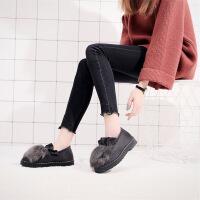 棉鞋女冬季老北京布女鞋加绒保暖韩版休闲豆豆鞋学生毛毛鞋