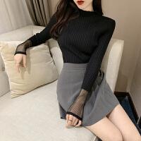春夏新款韩版时尚蕾丝拼接长袖打底衫百搭显瘦纯色气质针织衫上衣