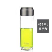 加厚单层玻璃杯透明水杯带盖防漏加厚杯子便携透明水杯 富贵灰 455ml