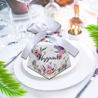 钻石抖音欧式喜糖盒创意婚礼宝宝满月礼盒结婚糖盒包装纸盒子 银灰色 丝带(繁花似锦)