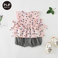 夏季薄款两件套宝宝衣服婴儿夏装套装可爱外出服棉