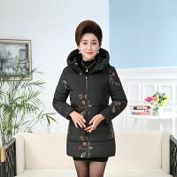 妈妈棉衣女中长款保暖羽绒中年女装外套中老年秋冬装加厚棉袄