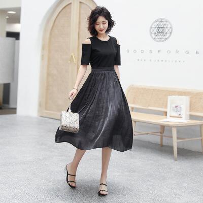 2019夏季新款女装气质镂空露肩黑色长裙拼接百皱褶修身大摆连衣裙