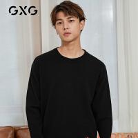 【特价】GXG男装 2021春季黑色圆领动物毛衫套头毛衣男GY120168GV