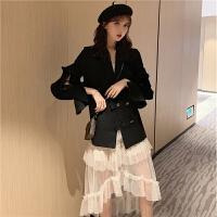 小香风气质荷叶边不规则小西装外套时尚套装波点网纱半身裙两件套