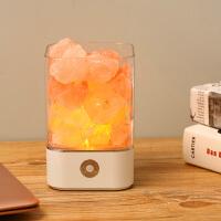 创意现代水晶盐灯喜马拉雅卧室床头小夜灯装饰台灯风水玫瑰浪漫