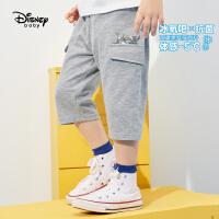 迪士尼童装男童七分裤2021夏季新款洋气儿童男孩时髦冰氧吧微哈裤