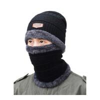 帽子男士冬季户外骑行针织棉帽加绒加厚保暖毛线帽子骑车摩托车 均码有弹力