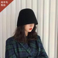 羊毛水桶帽女秋冬新款小盆帽保暖韩版百搭日系小众设计复古渔夫帽