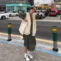 2019春装韩国ins宽松圆领波点雪纺连衣裙复古显瘦套头长裙女裙子