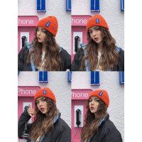 秋冬新款英文字母STOP学生毛线帽针织保暖帽男女潮韩版情侣帽子