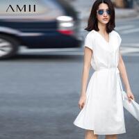 AMII[极简主义]及简夏新品纯色V领系带腰前搭片雪纺大码连衣裙11580466