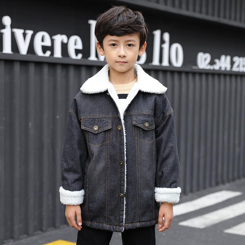 冬季 男童外套中大童男童上衣外套MG3-13岁牛仔加绒外套