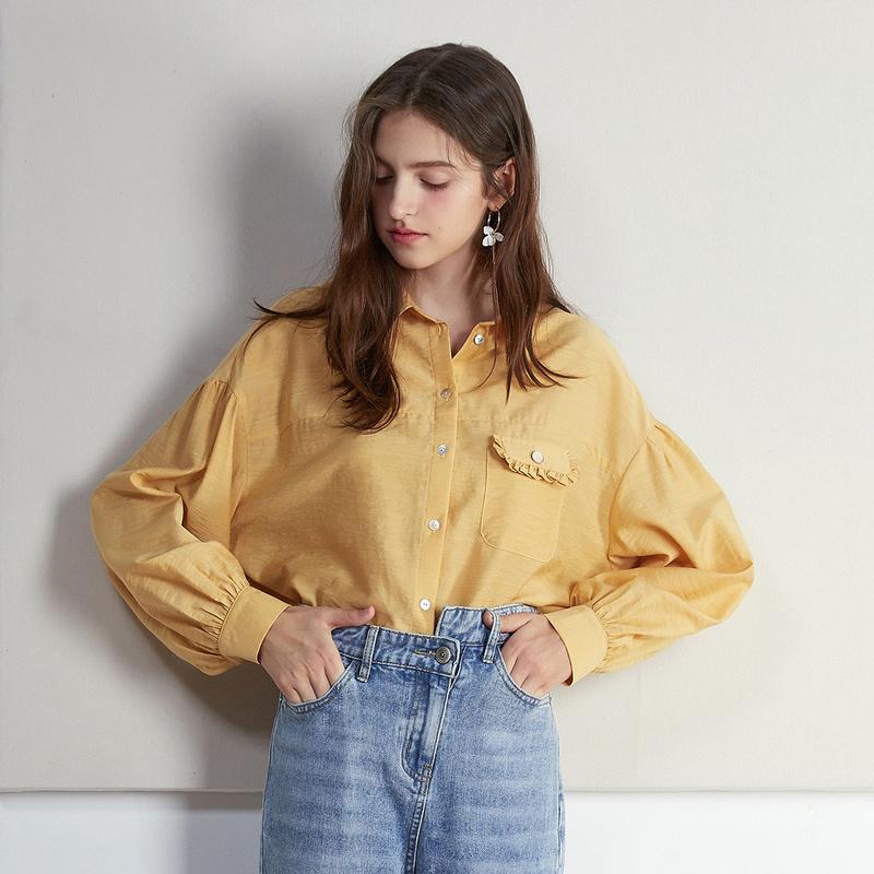 【2件3折】ONE MORE 2019秋季新款格子衬衫设计感时尚复古黄色格纹上衣女士 【2件3折狂欢购】