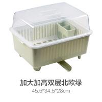厨房收纳箱装米面多功能 带盖碗碟架放碗架收纳盒沥水架装碗筷收纳箱厨房碗柜置物架B