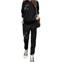 新款大码女士休闲显瘦早秋卫衣套装女秋冬加绒两件套