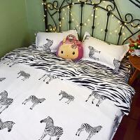 家纺可爱卡通床单被罩四件套夏季条纹被套床上三件套学生宿舍单人 白色 爱上斑马 送毛毯