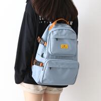 NR大容量简约工装双肩包男书包女韩版高中生大学生电脑背包女双肩