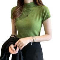 【简约百搭款】2020夏装 女韩版百搭半高领毛衣打底衫修身显瘦短袖针织衫0231 均码