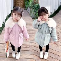 2019新款儿童中长款女宝宝加厚棉袄女童冬装洋气棉衣外套